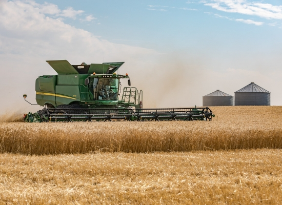 A John Deere combine harvests Canadian wheat